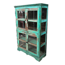 VINTAGE HAND PAINTED KITCHEN GLASS CABINET | TURQUOISE PATINA (H178cm | W116cm)