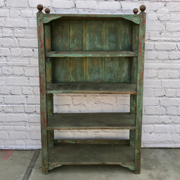 VINTAGE INDIAN SHELVING | GREEN & RED PATINA (H136CM | W81CM)