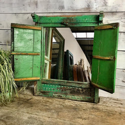 Upcycled Indian Window Mirror Bright Green (H66cm | W52cm)
