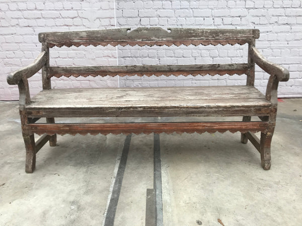 Rustic hand carved teak bench | 30931 (W)