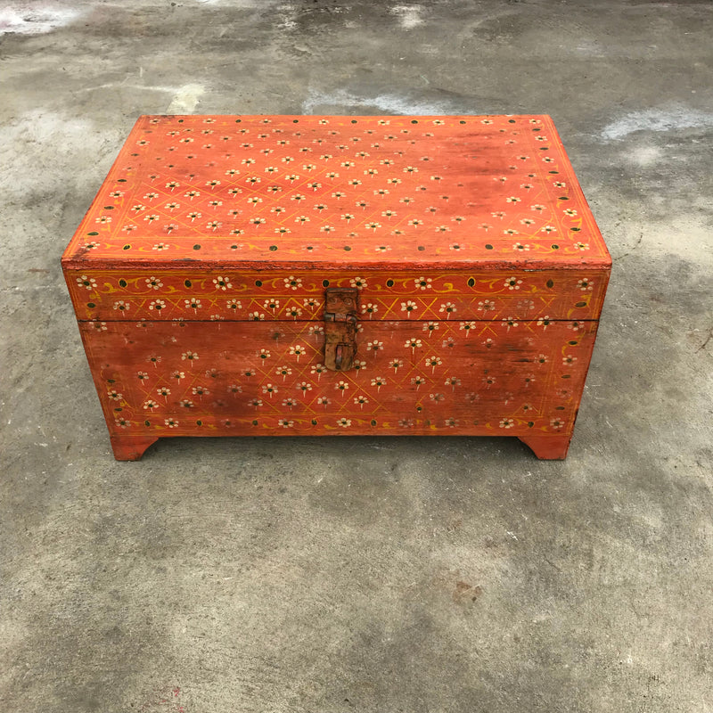 Vibrant orange hand painted box with an internal mirror and multiple compartments | 45256