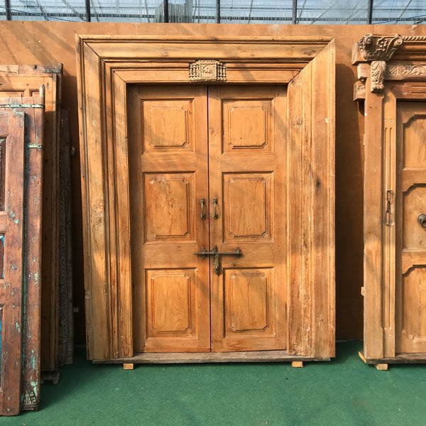 Classic vintage teak Indian mansion door in frame (H211cm | W143cm)