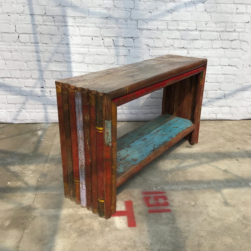 RECLAIMED VINTAGE BAMBOO & HARDWOOD CONSOLE (W130CM | H82CM)