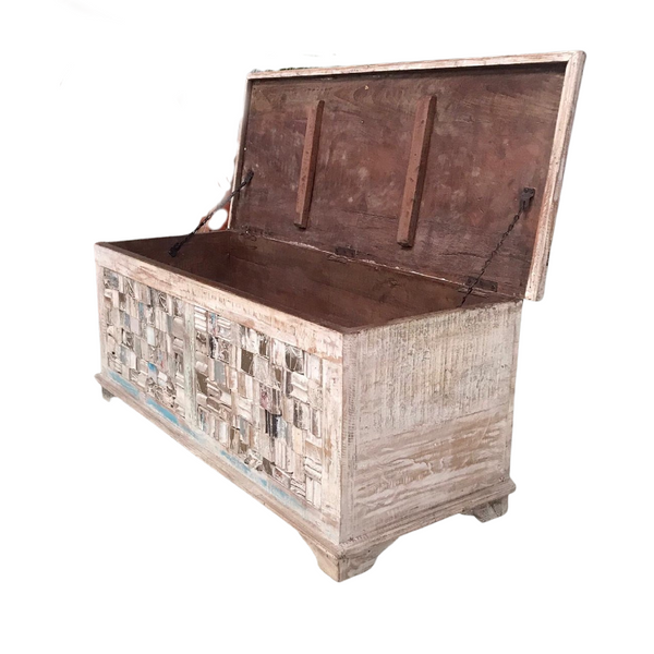 RECLAIMED INDIAN TEAK BLANKET CHEST (W103CM | H44CM)