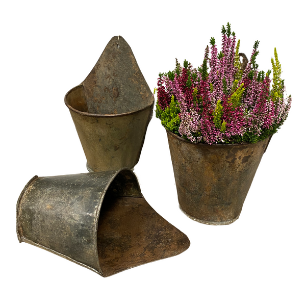 VINTAGE INDIAN WELL BUCKET WALL PLANTER