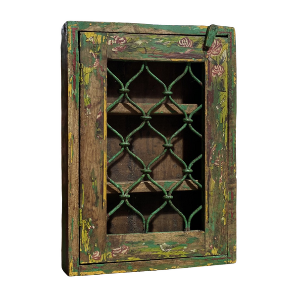 VINTAGE INDIAN PAINTED WALL CABINET (H45CM | W32CM)