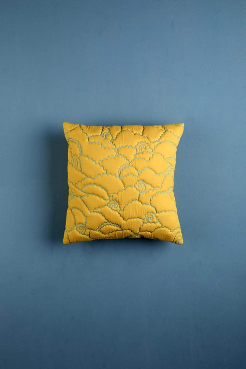 Poplin Cushion Cover In Yellow Color And Quilted Cloud Design
