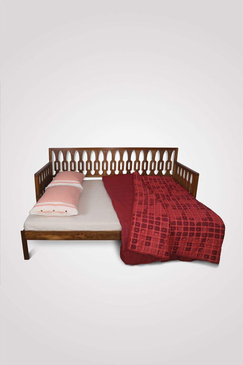 Teak Wood Pull Out Bed In Natural Color And Handcrafted Design