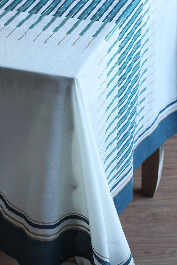 Cotton Table Cover In White/Teal Shade