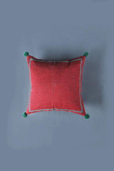 Polyester Cushion Cover In Deep Red Color