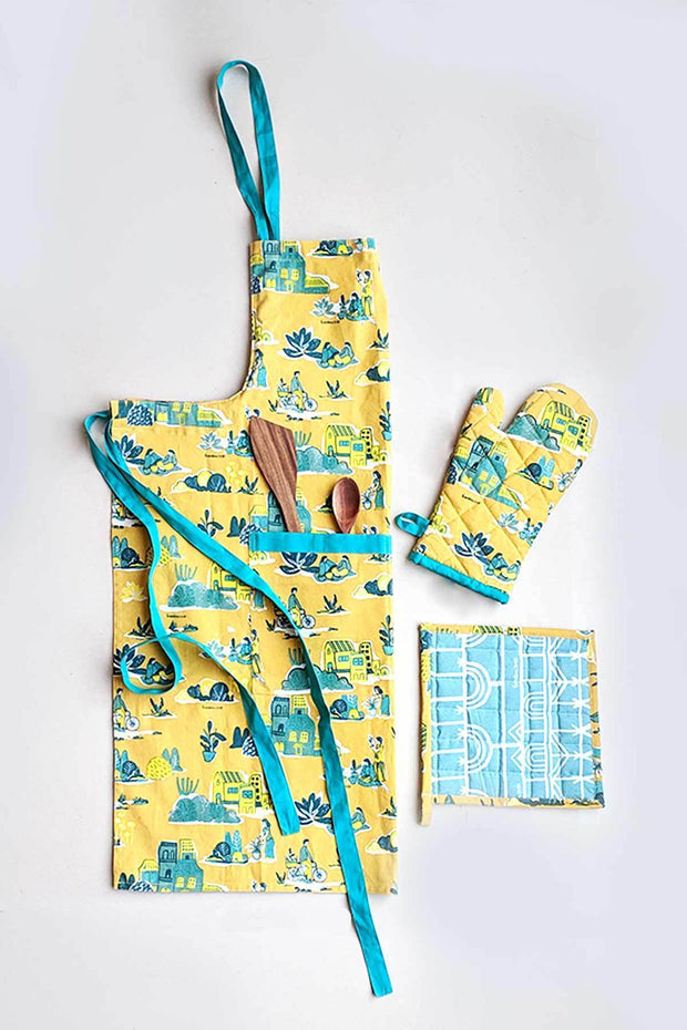 A Set Of 2 100% Cotton Pot Holder In Teal Shade