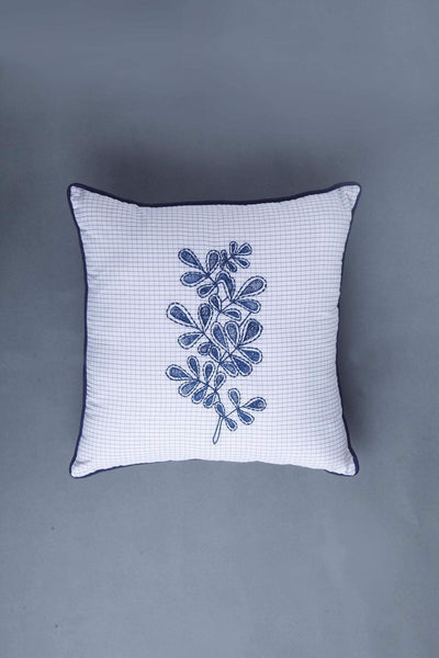 Woven Cotton Cushion Cover In Blue Shade And Patchwork Handcrafted Design