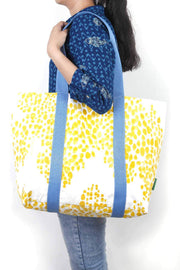Cotton Duck Bag In Yellow Shade And Screen Printed Upcycled Style