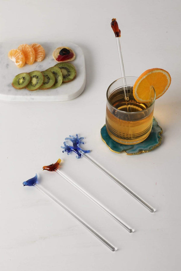 Glass Stirrer In Orange/Blue Shade