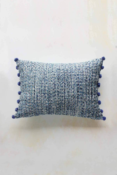 Cotton & Viscose Cushion Cover In Blue Shade And Textured Woven Design