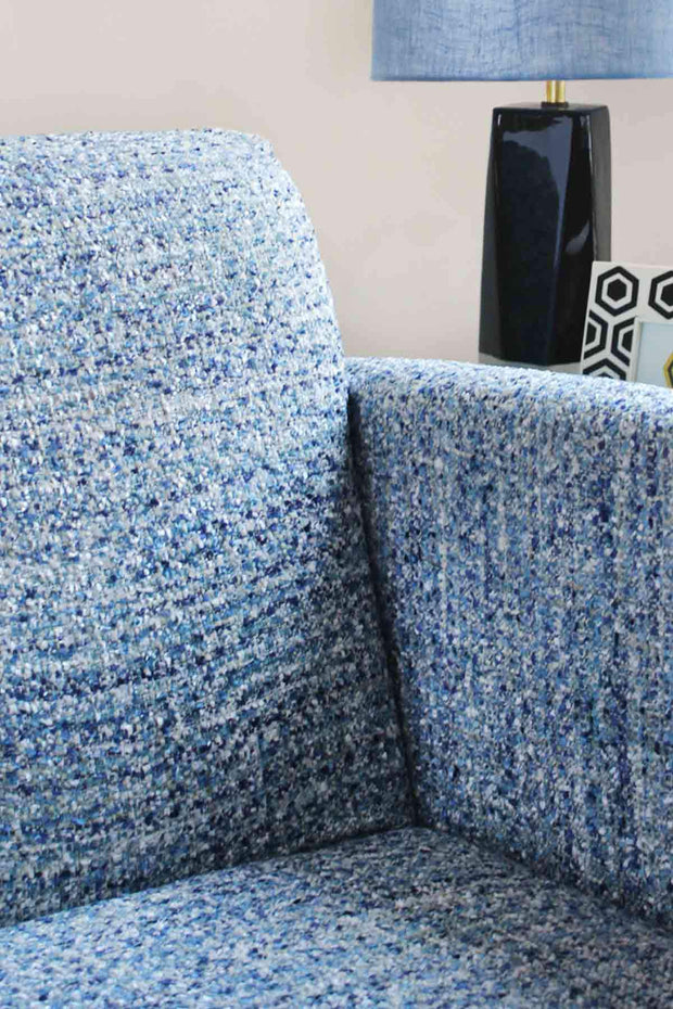 Cotton & Viscose Tweed Upholstery In Blue Color And Textured Woven Style