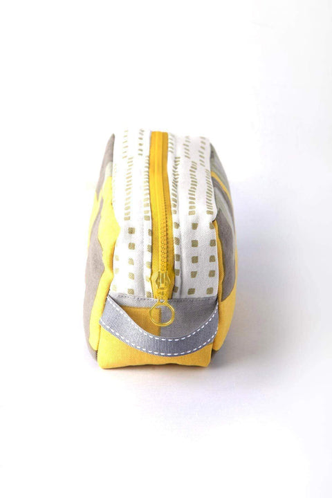 Cotton Duck Travel Pouch In Yellow / Grey Shade And Screen Printed Upcycled Design