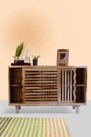 Sheesham Wood Sideboard In Natural Shade And Tropical Modern Hardwood Design
