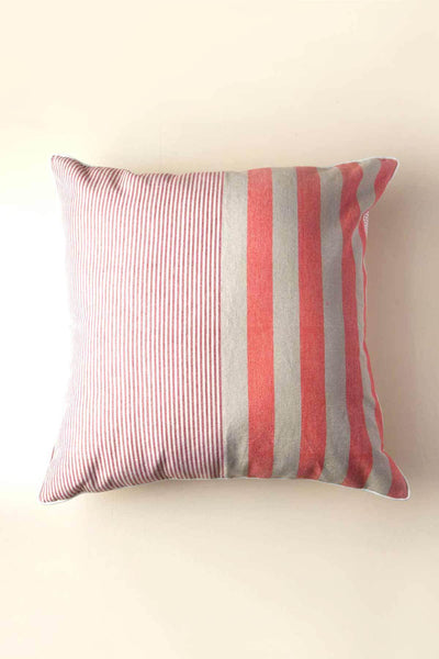 Woven Cotton Floor Cushion In Coral Color And Woven Striper Design