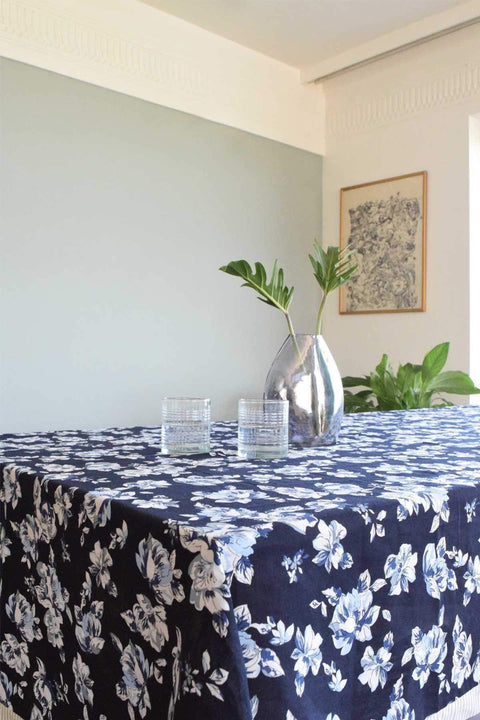 Linen Table Cover In Teal Color