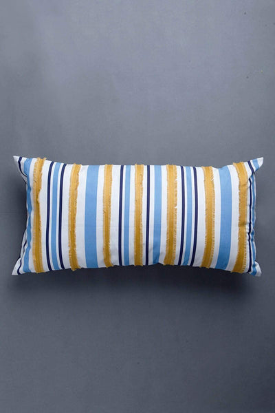 Woven Cotton Cushion Cover In Blue/White Color And Patchwork Handcrafted Style