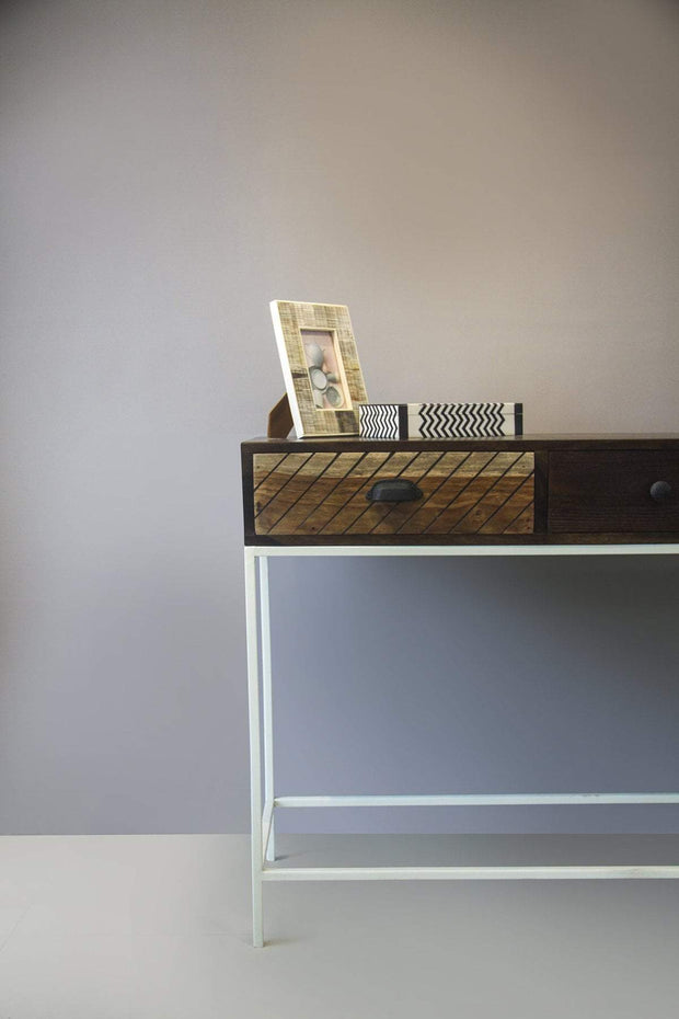 Wood & Metal Console In Natural Shade And Tropical Modern Hardwood Design