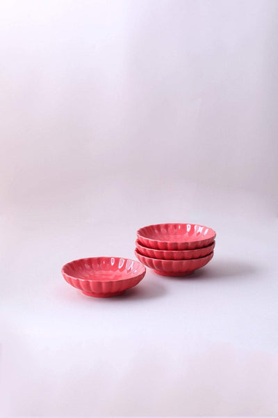 A Set Of 2 Ceramic Trinket Dish In Coral Color And Handcrafted Design