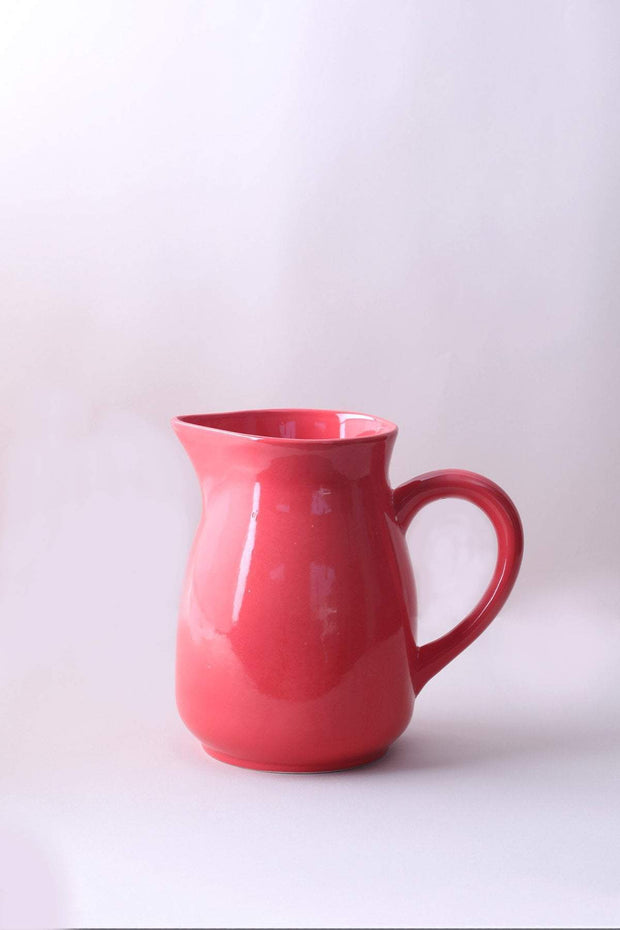Ceramic Water Jug In Coral Shade And Handcrafted Style