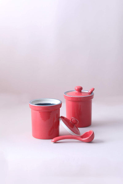 A Set Of 2 Ceramic Pickle Jar In Grey/Coral Shade And Handcrafted Style
