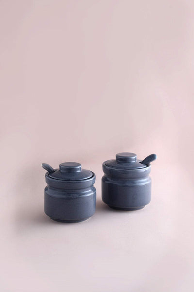 A Set Of 2 Ceramic Pickle Jar In Grey Color And Handcrafted Design