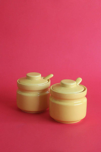 A Set Of 2 Ceramic Pickle Jar In Yellow Color And Handcrafted Style