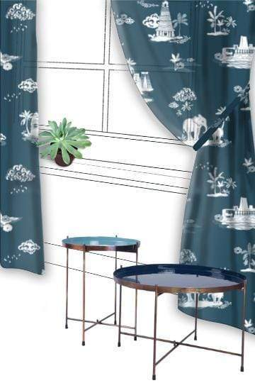 Buy Coromandel Sheer Fabric And Curtains (Blue) Online | Freedomtree.in