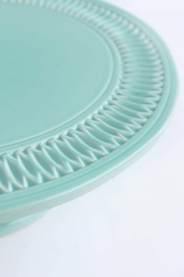 Ceramic Cake Stand In Mint Color And Handcrafted Style