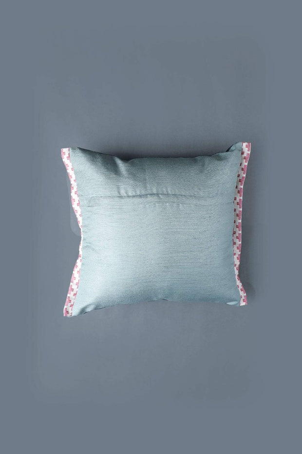 Silk Cushion Cover In Midnight Blue Shade