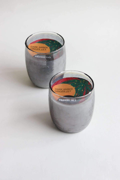 A Set Of 2 Glass & Wax Candle Votive In Grey Luster Shade And Artisanal Scented Fragrance Design