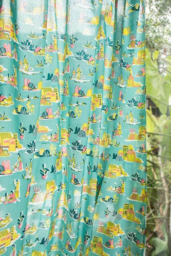 Cotton Voile Sheer Fabric And Curtains In Duck Egg Color And Screen Printed Narrative Style