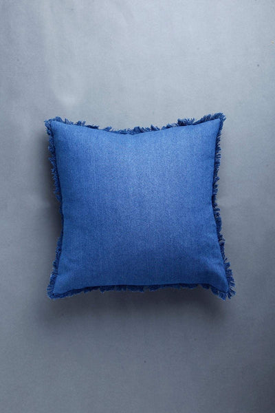 Denim Cushion Cover In Dark Blue Color And Woven Design
