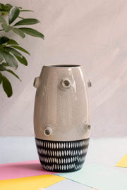 Buy Dhoro Ceramic Vase (Balck & White Speckle) Online | Freedomtree.in