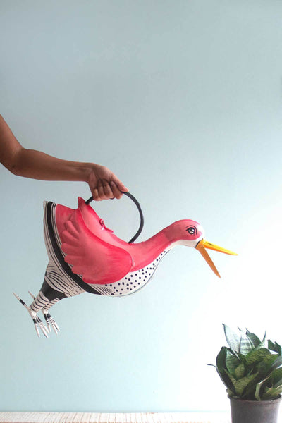 Metal Watering Can In Coral Color And Painted Shaped Metallic Design