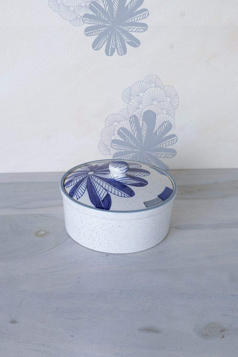 Ceramic Lidded Tureen In Blue Speckle Shade