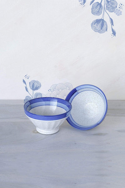 A Set Of 2 Ceramic Ribbed Bowl In Blue Speckle Shade