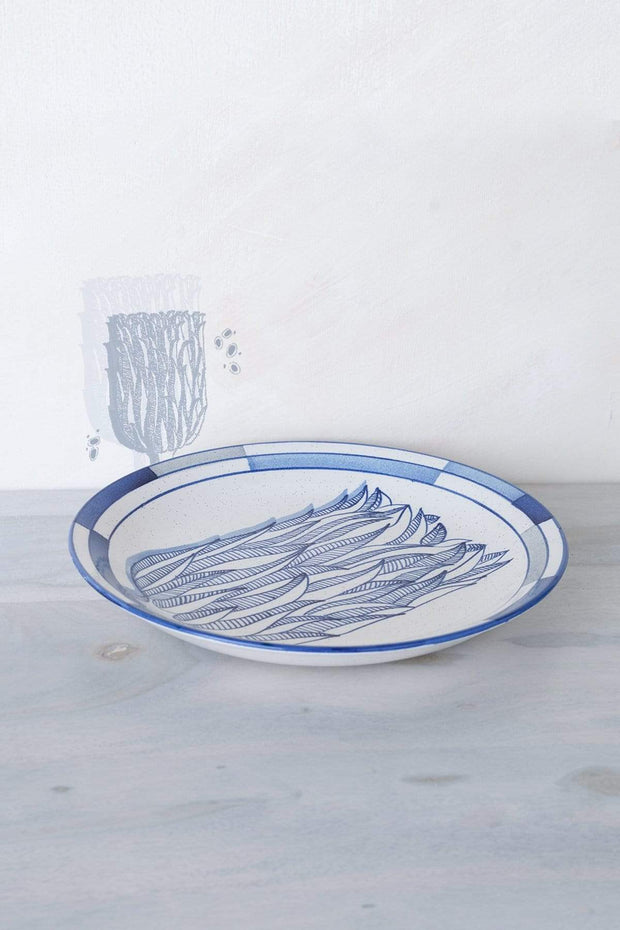 Ceramic Rice Platter In Blue Speckle Shade