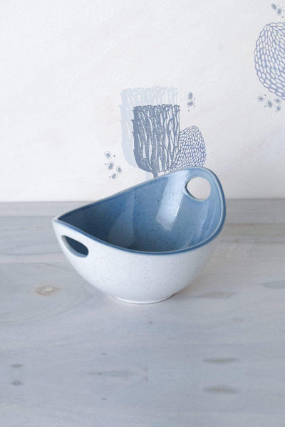 Ceramic Serving Bowl In Blue Speckle Shade