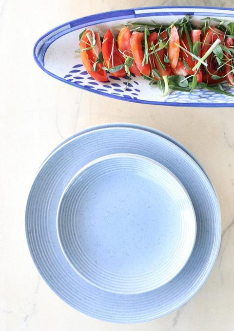 A Set Of 2 Ceramic Side Plate In Blue Speckle Color