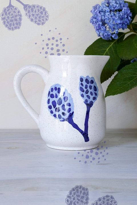 Ceramic Water Jug In Blue Speckle Color