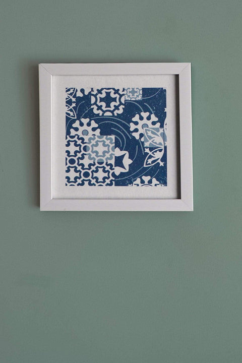 Buy Ethnic Geo Azulejous Wall Art (Blue) Online | Freedomtree.in