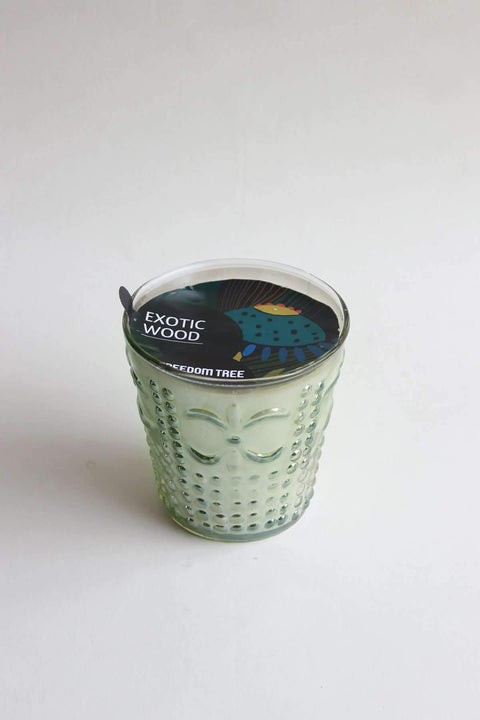 Glass & Wax Candle Glass In Green Luster Color And Artisanal Scented Fragrance Design
