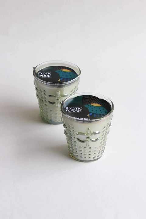 A Set Of 2 Glass & Wax Candle Votive In Green Luster Color And Artisanal Scented Fragrance Style