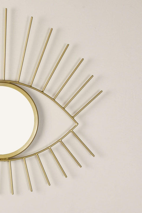 Metal & Glass Mirror In Gold Color And Handcrafted Bohemian Design