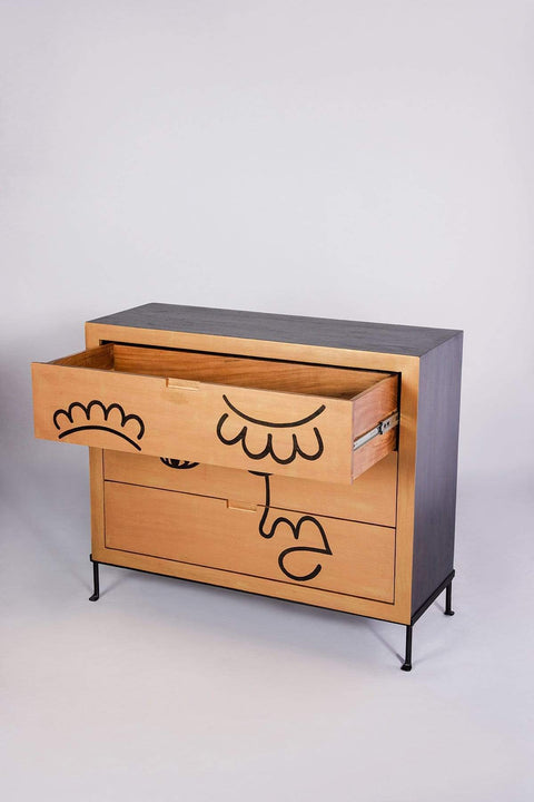 Face To Face Chest of Drawers (Gold/Black)